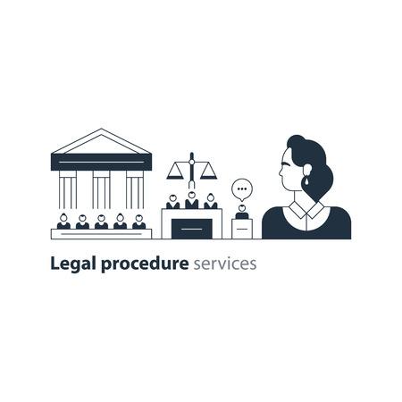 barrister: Flat design vector illustration. Court house trial case Illustration