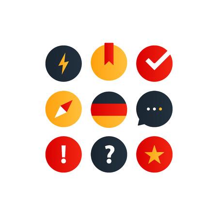 Lingual graphic elements. Flat design vector illustration