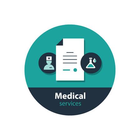 dispensary: Health care services. Flat design vector illustration