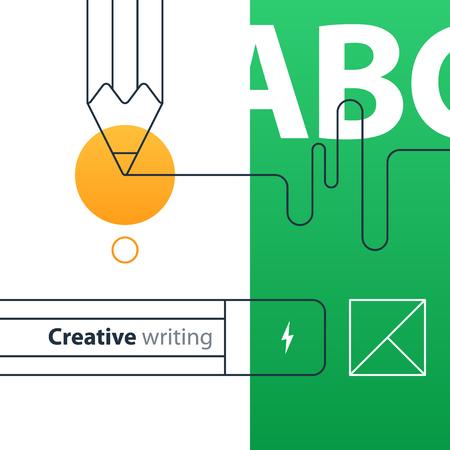 Escrito concepto de educación. Diseño plano ilustración vectorial