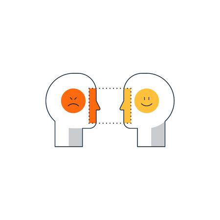 Menselijke psychologie en communicatie, lineair ontwerp vectorillustratie