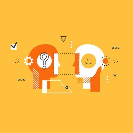 Psychology education concept, flat design illustration on white background