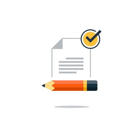 Writing education concept. Flat design vector illustration 일러스트