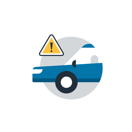 Blue car in a circle with attantion sign. Flat design vector illustration