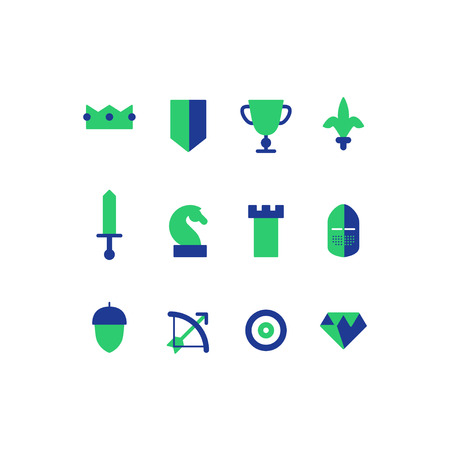 tactics: Business strategy, tactics. Flat design  set of game icons Illustration