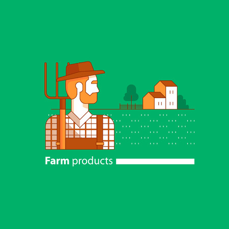 checked: man with beard in hat with fork, side view. Checked shirt and jumpsuit. Country house and barn icon. Flat design Illustration