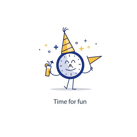 midnight time: Time clock with cone hat, and flag in hands, waving Birthday party, friday night. Midnight countdown. Entertainment services. Happy hour concept. Flat design  illustration Illustration