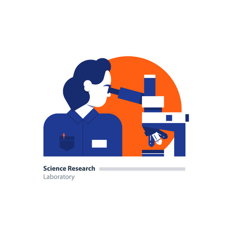science scientific: Laboratory science research. Female sientist, microscope. Flat design  illustration. Scientific study,  concept