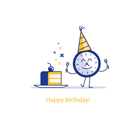 special moments: Time clock and cake on plate. Birthday celebration. dessert treats. Good morning. Happy hour concept. Flat design  illustration.