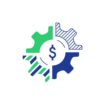 alteration: Technology business concept  Finances and investment strategy.  icon. Flat design  illustration