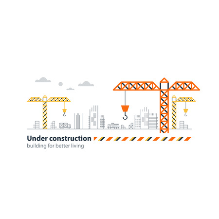 building sector: Building houses concept, realty investment, real estate growth, construction site cranes, horizontal bar. Flat design illustration
