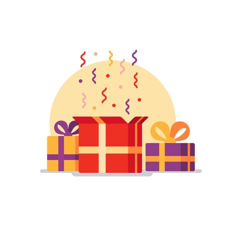 축하 이벤트, 놀라운 선물 상자. 선물 개념을 제공하십시오. 평면 디자인 벡터 일러스트 레이션