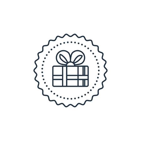 축 하 이벤트, 놀라운 선물 상자 아이콘입니다. 라운드 레이블. 평면 디자인 벡터 일러스트 레이션 일러스트