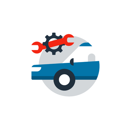 insurance policy: Blue car in a circle with wrench and gear wheel. Auto car repair services, diagnostic concept, insurance policy, mechanic works. Flat design vector illustration
