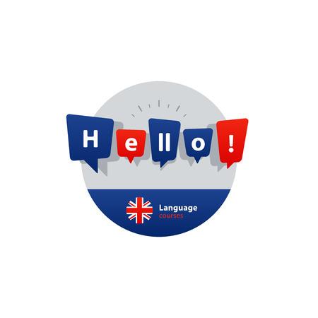 linguistics: British english language class concept icon set and flag logo, language exchange program, forum and international communication sign. Flat design vector illustration Illustration