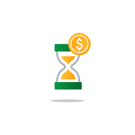 annuity: Business and finance theme concept, sand glass time and money icon. Flat design vector illustration Illustration
