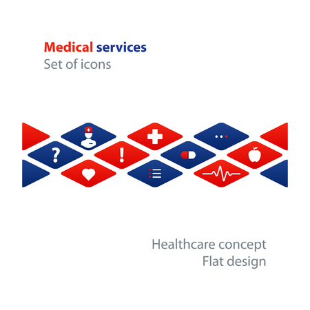 dispensary: Health care and medicine services icon and logo, pattern and background. Flat design elements, vector illustration
