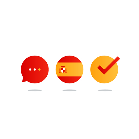 fluency: Spanish lenguage icons and logo. linguistics class concept. Flat design vector illustration