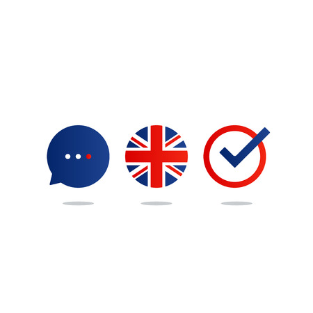 fluency: British english language class concept icon set and flag logo, language exchange program, forum and international communication sign. Flat design vector illustration Illustration