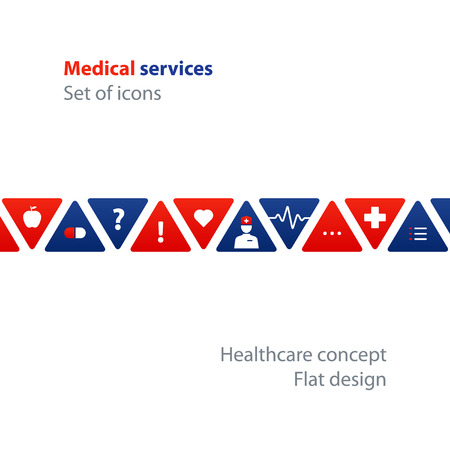 Health care and medicine services icon and logo, pattern and background. Flat design elements, vector illustration