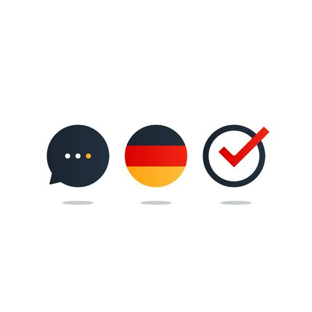fluency: German language class concept icon set and flag logo, language exchange program, forum and international communication sign. Flat design vector illustration