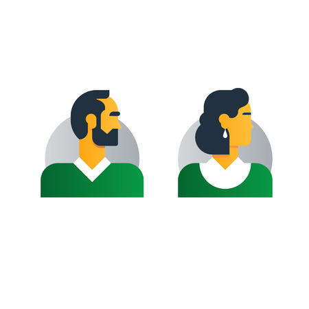 woman middle age: Middle age people character turned head. Coulpe of woman and man. Flat design vector illustration