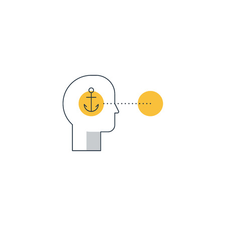 Human psychology and communication. Anchoring and cognitive bias, decision making. linear design vector illustration
