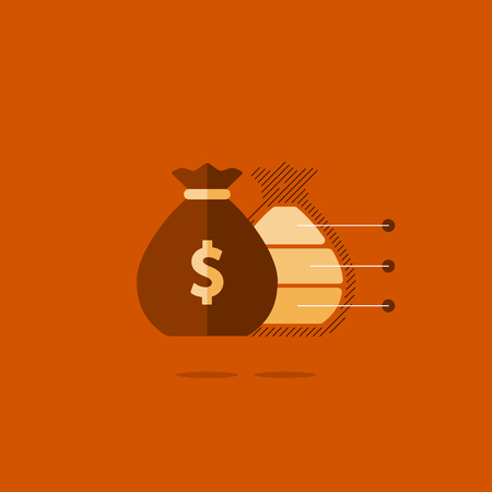 Financial investment plan, money sack icon, interest return, income diversification strategy, pension savings account, budget fund illustration Illustration
