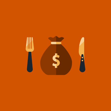 Greed concept, financial fund spending plan, money sack icon, income strategy, savings account, budget cut illustration