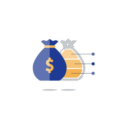 perdidas y ganancias: Plan financiero de inversión, icono el saco del dinero, ingresos por intereses, estrategia de diversificación de los ingresos, cuenta de ahorros de pensiones, la ilustración fondo del presupuesto