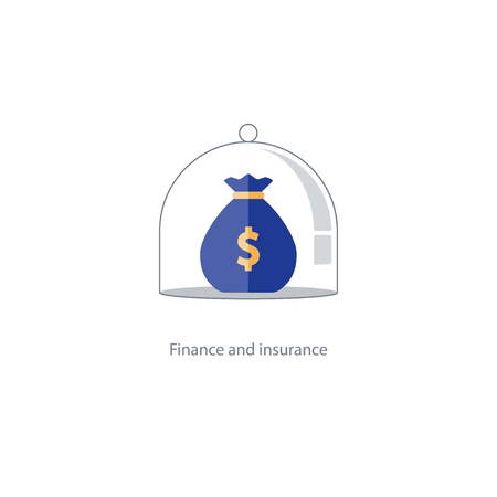 insurance policy: Financial safety plan, budget capital management, bank deposit savings account, pension fund icon, retirement money, superannuation concept, asset allocation, insurance policy illustration