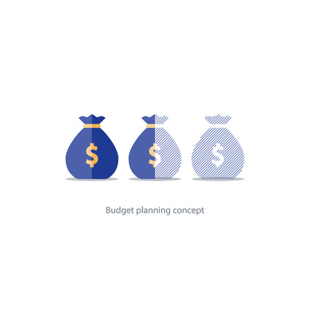 savings account: Budget capital planning, financial investment, money loss, sack icon, limit overdraft, pension savings account, fund deficit illustration
