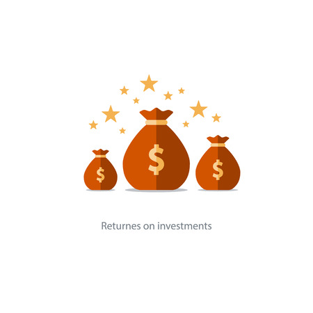 Prize fund money, lottery win icon, budget plan, finances investments, fortune concept illustration Illustration