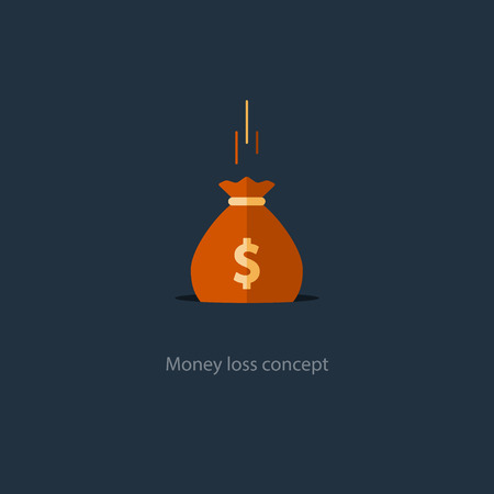 expenditure: Money loss concept, falling sack in hole, financial expenses, budget planning, fund downfall illustration Illustration