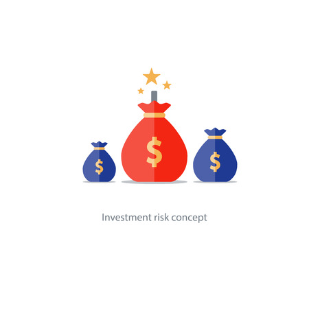Investment risk, money gamble, financial debt, high stake, lottery chance illustration Ilustrace