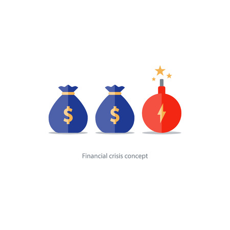 Investment risk, money gamble, financial debt, high stake, lottery chance illustration Illustration