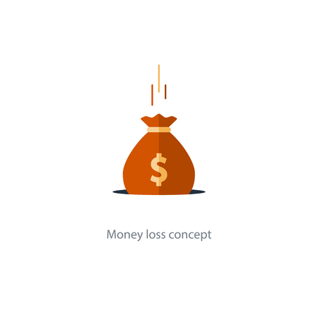 Money loss concept, falling sack in hole, financial expenses, budget planning, fund downfall illustration
