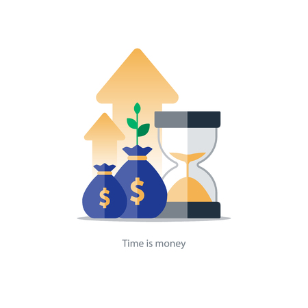 savings account: Compound interest, time is money, added value, financial investments in stock market, future income growth concept, revenue increase, money return, pension fund plan, budget management, savings account, banking illustration icon