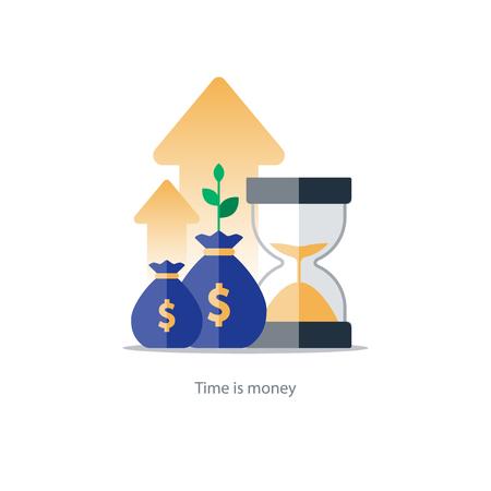 El interés compuesto, el tiempo es dinero, valor añadido, las inversiones financieras en el mercado de valores, concepto futuro crecimiento de los ingresos, aumento de los ingresos, la vuelta del dinero, el plan de fondos de pensiones, la gestión del presupuesto, cuenta de ahorros, banca icono de la ilustración