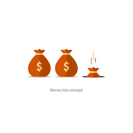 Concepto de la pérdida de dinero, cayendo en el saco del agujero, los gastos financieros, la planificación del presupuesto, el fondo de la ilustración del vector caída