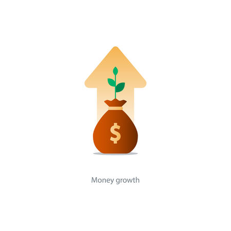 Compound interest, added value, financial investments in stock market, future income growth concept, revenue increase, money return, pension fund plan, budget management, savings account, banking illustration icon
