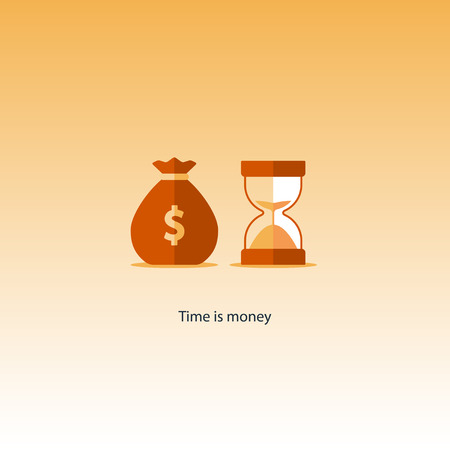Compound interest, time is money, added value, financial investments in stock market, future income growth concept, revenue increase, money return, pension fund plan, budget management, savings account, banking illustration icon