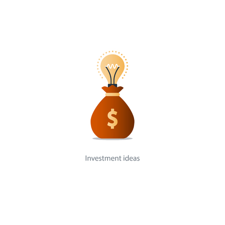 Investment idea, financial concept, start up fund, light bulb icon, business solution, illustration Illustration