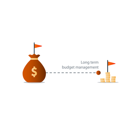 long term: Long term investment, budget plan icon, financial independence strategy, future profit, pension saving, retirement accumulation, illustration Illustration