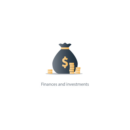 fortune concept: Prize fund money, lottery win icon, budget plan, finances investments, fortune concept illustration Illustration