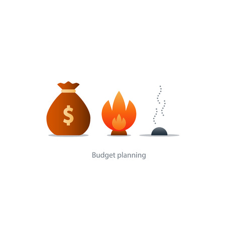 expenditure: Burning money, excessive spending, waste budget, financial planning, payoff debt, risk investment, inflation concept illustration icons