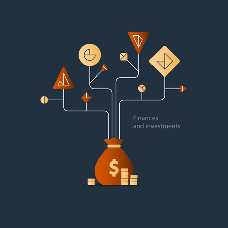 Financial education system, stock market index fund investment strategy, business solution concept, budget fund plan, income diversification, start up money, expenses account, illustration