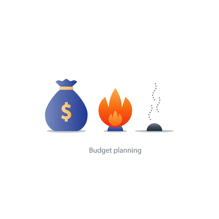 Burning money, excessive spending, waste budget, financial planning, payoff debt, risk investment, inflation concept illustration icons