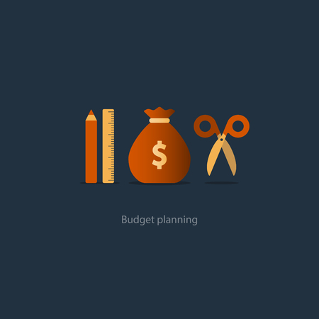 Budget fund measure and plan spending, financial calculation tools, investment strategic solution, money analytics, illustration icons