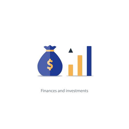 L'intérêt composé, la valeur ajoutée, les investissements financiers dans le marché boursier, la croissance future des revenus, l'augmentation du chiffre d'affaires, le retour de l'argent, le plan de fonds de pension, la gestion du budget, compte d'épargne, vecteur bancaire icône